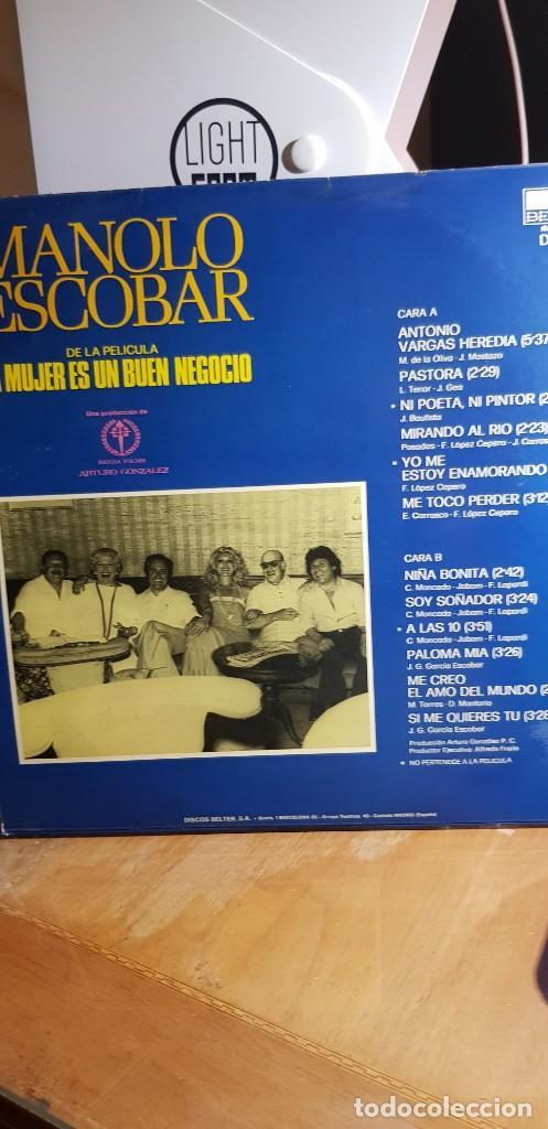 Discos de vinilo: MANOLO ESCOBAR. LA MUJER ES UN BUEN NEGOCIO 1977 - Foto 2 - 198949333
