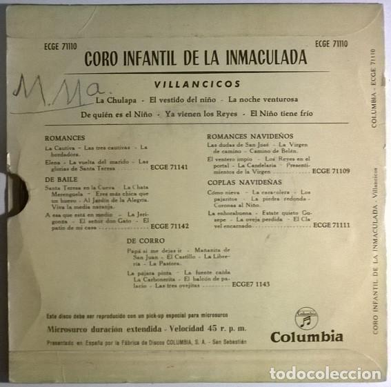 Discos de vinilo: Coro Infantil de la Inmaculada- Villancicos: La chulapa/ El vestido del niño/ Noche venturosa 1959ep - Foto 2 - 198955671