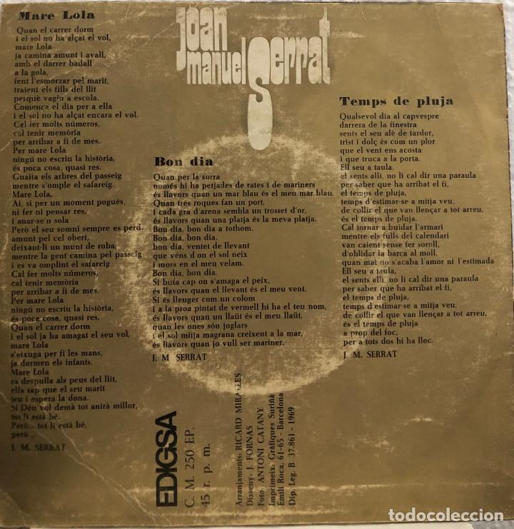 Discos de vinilo: JOAN MANUEL SERRAT, ep MARE LOLA - Foto 2 - 199152255
