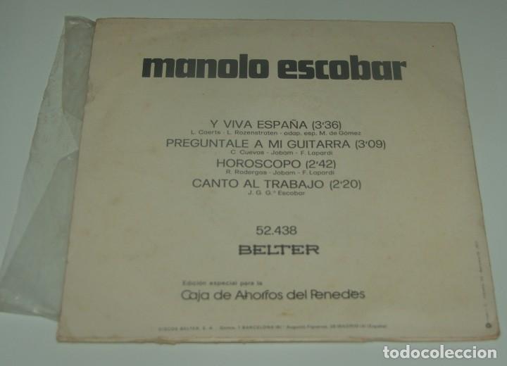 Discos de vinilo: MANOLO ESCOBAR - Y VIVA ESPAÑA + 3 - BELTER - Foto 2 - 199174691