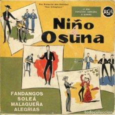 Discos de vinilo: NIÑO DE OSUNA / FANDANGOS - SOLEA + 3 (EP 1958). Lote 199181312