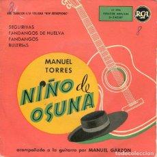 Discos de vinilo: NIÑO DE OSUNA / SEGUIRIYAS / FANDANGOS DE HUELVA + 2 (EP 1958). Lote 199181360