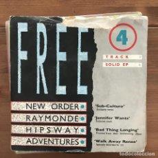 Discos de vinilo: RECORD MIRROR FREE 4 TRACK EP - 7'' UK 1986 - NEW ORDER, HIPSWAY, ADVENTURES, RAYMONDE. Lote 199188425