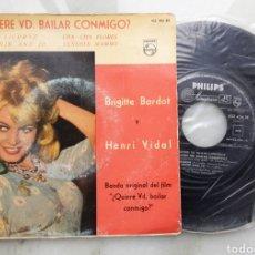 Discos de vinilo: BRIGITTE BARDOT QUIERE USTED BAILAR CONMIGO? EP LA LICORNE +3. Lote 199261301