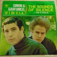 Discos de vinilo: SIMON & GARFUNKEL – THE SOUNDS OF SILENCE / I AM A ROCK + 2 - EP 1966. Lote 199307275