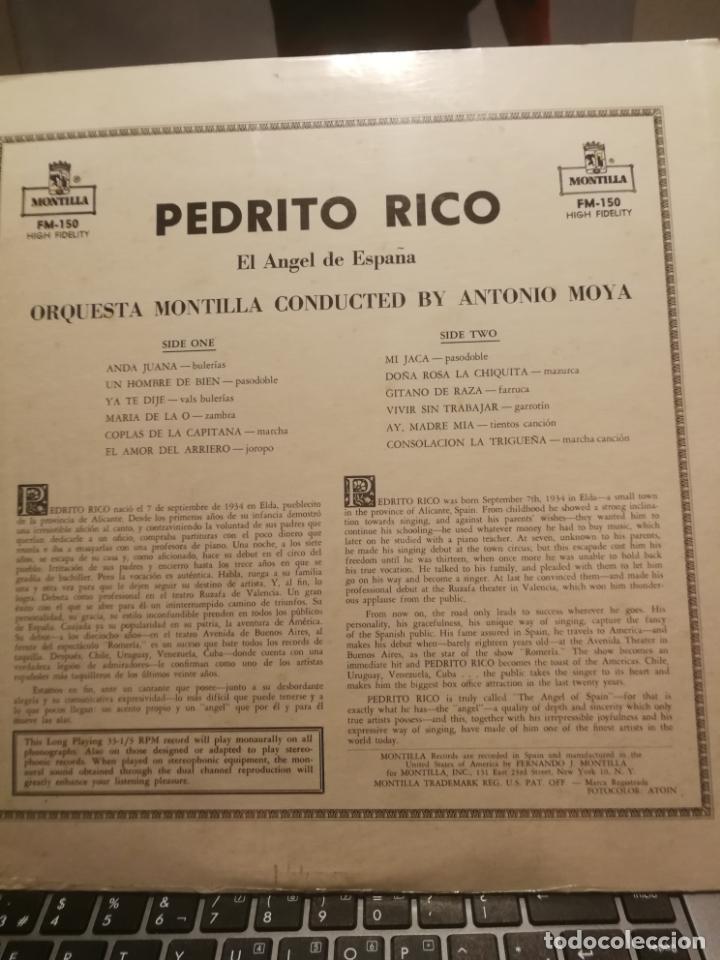 Discos de vinilo: PEDRITO RICO LP EL ANGEL DE ESPAÑA,SELLO MONTILLA EDITADO EN VENEZUELA - Foto 2 - 199340708