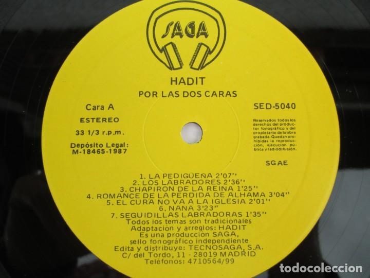 Discos de vinilo: HADIT POR LAS DOS CARAS. LP VINILO. SAGA 1987. VER FOTOGRAFIAS ADJUNTAS - Foto 7 - 199483057
