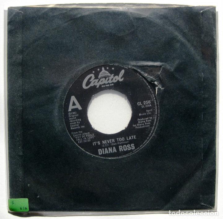 DIANA ROSS - IT'S NEVER TOO LATE - SINGLE CAPITOL RECORDS 1981 UK BPY (Música - Discos - Singles Vinilo - Funk, Soul y Black Music)