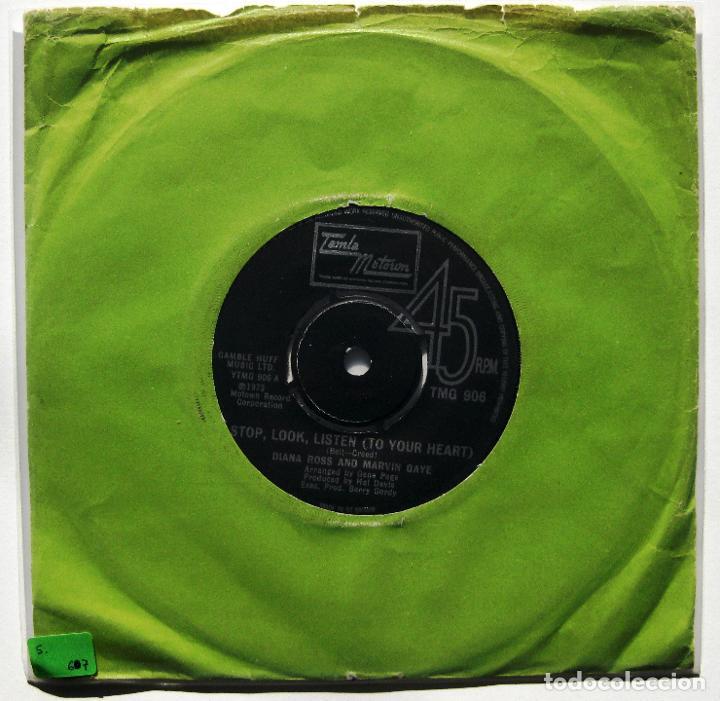 DIANA ROSS & MARVIN GAYE - STOP, LOOK, LISTEN (TO YOUR HEART) - SINGLE TAMLA MOTOWN 1974 UK BPY (Música - Discos - Singles Vinilo - Funk, Soul y Black Music)