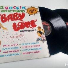 Discos de vinilo: LP ( VINILO) -DOBLE- BABY LOVE ( 32 ROCKIN´GREAT TRACKS) VERSIONES ORIGINALES. Lote 199559775