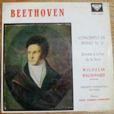 Discos de vinilo: BEETHOVEN - BACKHAUS - SONATA A LA LUZ DE LA LUNA. Lote 199637092