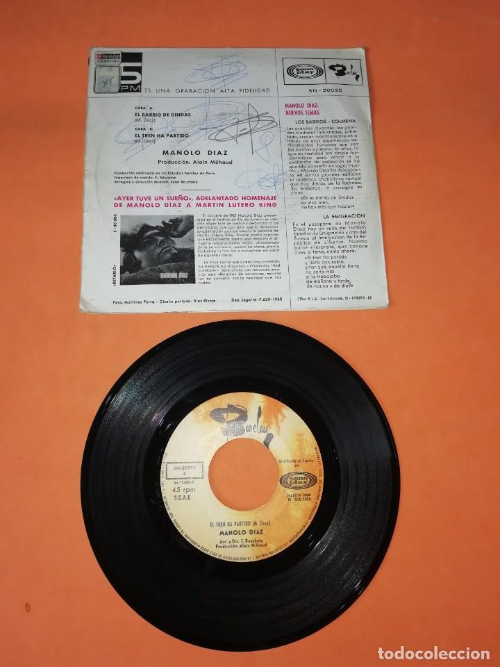 Discos de vinilo: MANOLO DIAZ, EL TREN HA PARTIDO. SONOPLAY RECORDS 1968 - Foto 2 - 199641727