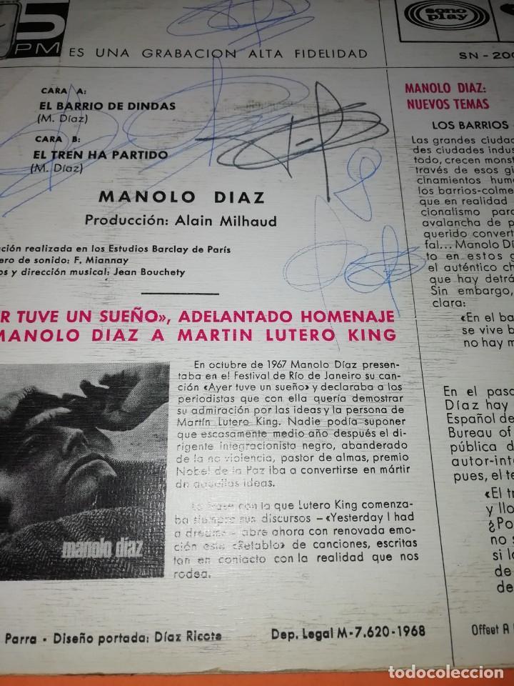 Discos de vinilo: MANOLO DIAZ, EL TREN HA PARTIDO. SONOPLAY RECORDS 1968 - Foto 3 - 199641727