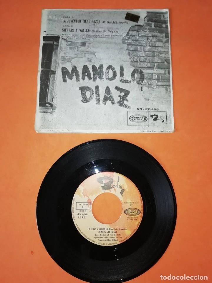 Discos de vinilo: MANOLO DIAZ. LA JUVENTUD TIENE RAZON. SONOPLAY RECORDS 1969 - Foto 2 - 199643462
