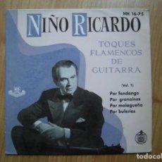 Dischi in vinile: NIÑO RICARDO /TOQUES FLAMENCOS DE GUITARRA /HISPAVOX 1959. Lote 199650802