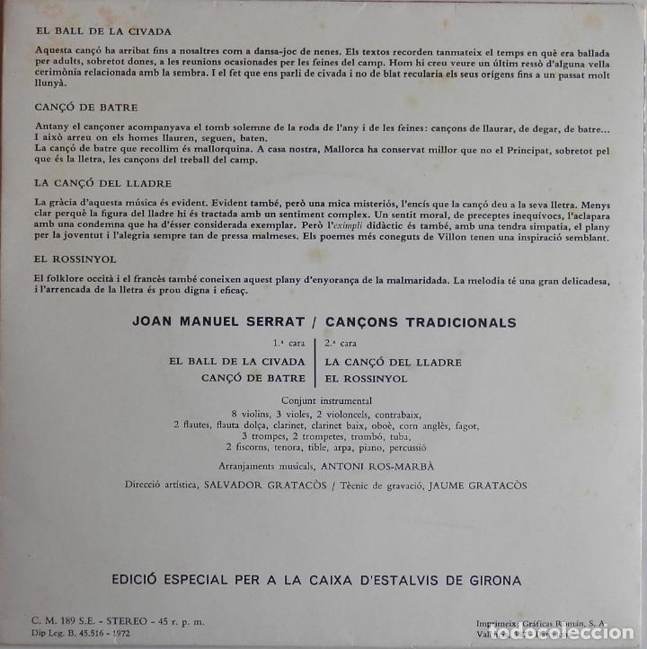 Discos de vinilo: JOAN MANUEL SERRAT - CANÇONS TRADICIONALS - El Ball de la Civada - Cançó de Batre - Portada Oberta - Foto 3 - 199657265