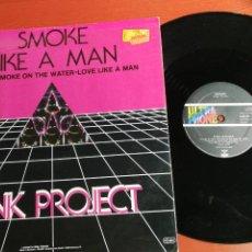 Discos de vinilo: MAXI SINGLE PINK PROJECT SMOKE –LIKE A MAN. MEDLEY SMOKE ON THE WATER DEEP PURPLE 1983. Lote 199666917