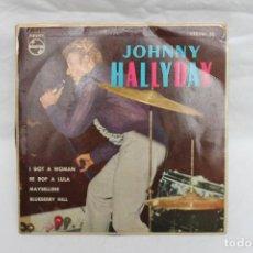 Discos de vinilo: JOHNNY HALLYDAY SINGLE I GOT A WOMAN / BE BOP A LULA, PHILIPS. Lote 199715742