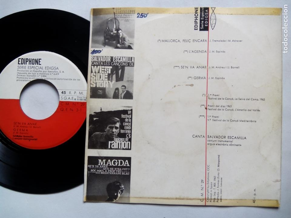 Discos de vinilo: SALVADOR ESCAMILLA. 4 CANÇONS PREMIS. EP EDIPHONE CM Nº29. ESPAÑA 1963. - Foto 2 - 199761323