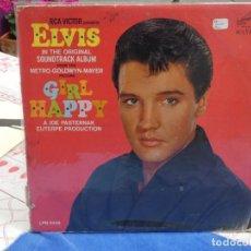 Discos de vinilo: LP ELVIS PRESLEY USA CIRCA 1965 GIRL HAPPY VINILO MUY USADO, RELATIVAMENTE AUDIBLE, LOMO TOCADO . Lote 199844598