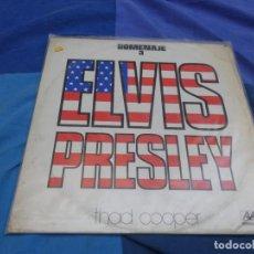 Discos de vinilo: LP ESPAÑOL EXPLOTACION THAD COOPER HOMENAJE A ELVIS PRESLEY ALAMO 1977, PEQUEÑA MANCHA EN PORTADA. Lote 199844931