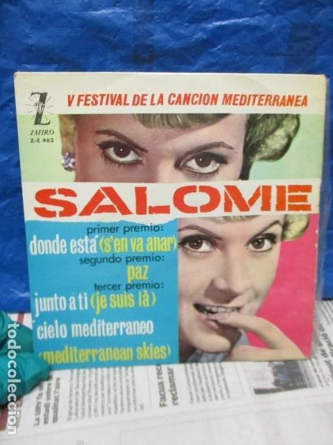 V FESTIVAL DE LA CANCION DEL MEDITERRANEA-SALOME -DONDE ESTA -EP DE 4 CANCIONES -ZAFIRO-MADRID (Música - Discos - Singles Vinilo - Otros Festivales de la Canción)
