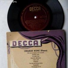 Discos de vinilo: CHARLIE KUNZ CON ACOMPAÑAMIENTO RÍTMICO. EP DECCA BEP 6110. ESPAÑA. CON UNA CANCIÓN EN MI CORAZÓN.. Lote 200035548