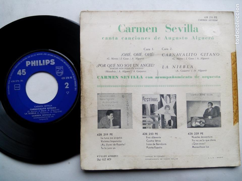 Discos de vinilo: CARMEN SEVILLA CANTA CANCIONES DE AUGUSTO ALGUERÓ. EP PHILIPS 428 270 PE. ESPAÑA 1961. - Foto 2 - 200037677