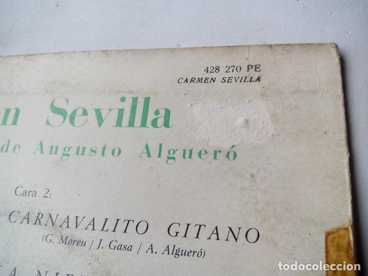 Discos de vinilo: CARMEN SEVILLA CANTA CANCIONES DE AUGUSTO ALGUERÓ. EP PHILIPS 428 270 PE. ESPAÑA 1961. - Foto 4 - 200037677