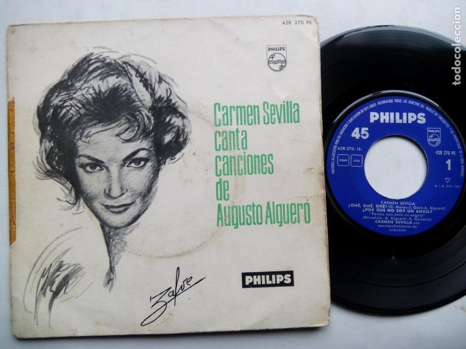 CARMEN SEVILLA CANTA CANCIONES DE AUGUSTO ALGUERÓ. EP PHILIPS 428 270 PE. ESPAÑA 1961. (Música - Discos de Vinilo - EPs - Solistas Españoles de los 50 y 60)