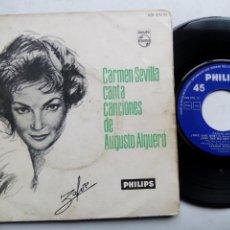 Discos de vinilo: CARMEN SEVILLA CANTA CANCIONES DE AUGUSTO ALGUERÓ. EP PHILIPS 428 270 PE. ESPAÑA 1961. . Lote 200037677