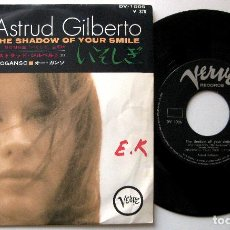Discos de vinilo: ASTRUD GILBERTO - THE SHADOW OF YOUR SMILE / O GANSO - SINGLE VERVE 1965 JAPAN BPY. Lote 200040478