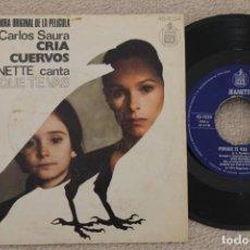 Discos de vinilo: JEANETTE PORQUE TE VAS BSO CRIA CUERVOS SINGLE VINYL MADE IN SPAIN 1976. Lote 200054370