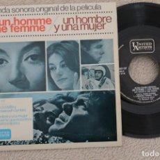 Discos de vinilo: BSO UN HOMBRE Y UNA MUJER NICOLE CROISILE PIERRE BAROUH SINGLE VINYL MADE IN SPAIN 1966. Lote 200089487