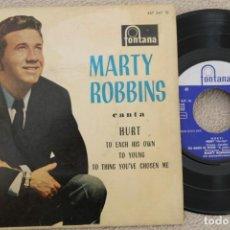 Discos de vinilo: MARTY ROBBINS HURT EP VINYL MADE IN SPAIN 1961. Lote 200091573