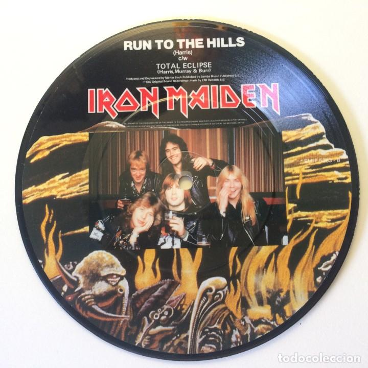 Discos de vinilo: Iron Maiden – Run To The Hills / Run To The Hills PICTURE DISC UK 1982 EMI - Foto 2 - 200094676