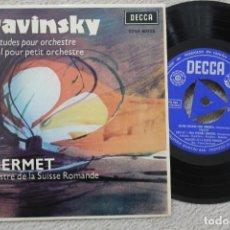 Discos de vinilo: ANSERMET STRAVINSKY SINGLE VINYL MADE IN SPAIN 1963. Lote 200095980
