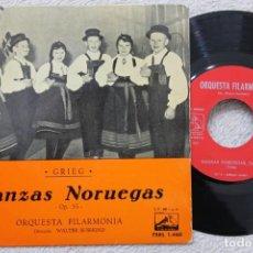 Discos de vinilo: GRIEG DANZAS NORUEGAS ORQUESTA FILARMONICA SINGLE VINYL MADE IN SPAIN 1962. Lote 200099455