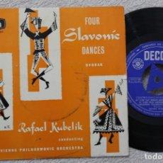 Discos de vinilo: DVORAK CUATRO DANZAS ESLAVAS RAFAEL KUBELIK SINGLE VINYL MADE IN SPAIN 1959. Lote 200099691