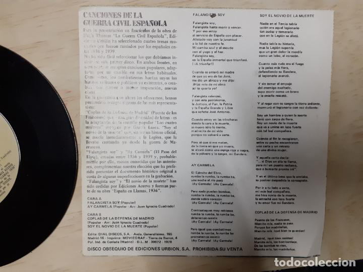 Discos de vinilo: MAXI SINGLE CANCIONES DE LA GUERRA CIVIL ESPAÑOLA AY CARMELA NOVIO DE LA MUERTE FALANGE - Foto 2 - 200167745