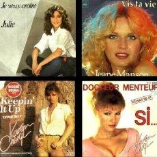 Discos de vinilo: MUSICA. CANCION FRANCESA. LOTE 79 SINGLES. VINILO. EUROVISION. SOLISTAS. GRUPOS. VER LISTADO Y FOTOS. Lote 200253130