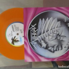 Disques de vinyle: ANTHRAX: INDIANS / SABBATH BLOODY SABBATH (SINGLE NARANJA) !!!!. Lote 200370986