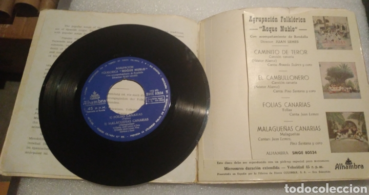 Discos de vinilo: Agrupación folklórica Roque Nublo - Folías Canarias + 3 - Foto 3 - 200514895