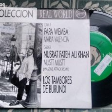 Discos de vinilo: SINGLE ( VINILO) -PROMOPCION- COLECCION REAL WORLD ( PAPA WEMBA-NUSRAT FATEH ALI KHAN...). Lote 200607085