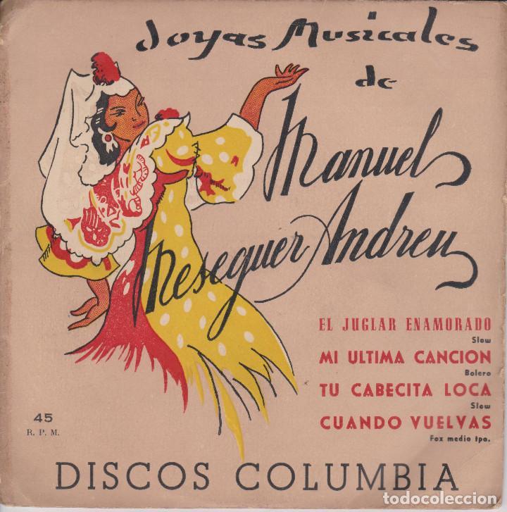 JOYAS MUSICALES. CANCIONES DE MASEGUER ANDREU (Música - Discos - Singles Vinilo - Orquestas)