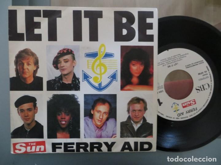 FERRY AID: LET IT BE (BEATLES-DIRE STRAITS-BOY GEORGE...) (Música - Discos de Vinilo - Singles - Pop - Rock Extranjero de los 80)