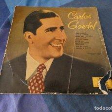 Discos de vinilo: DESDE 2 EUROS LP 10 PULGADAS CARLOS GARDEL 1955 APROX VINILO ACEPTABLE HA PERDIDO ESQUINA PORTADA. Lote 200779217