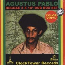 Discos de vinilo: CAJA 10 PULGADAS AUGUSTUS PABLO REGGAE 3 X 10 PULGADAS DUB BOX SET JAMAICA. Lote 200821210