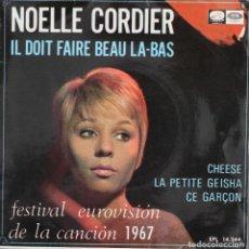 Discos de vinilo: NOELLE CORDIER// IL DOIT FAIRE BEAU LA-BAS+3// EP// 1967// EMI. Lote 200843686