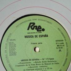 Discos de vinilo: NÚM 1. 2 ÉPOCA. TRANSCRIPCIONES DE RNE. MÚSICA DE ESPAÑA. JN 82. LP VINILO FALLA. CANTIGAS. CABEZÓN. Lote 200845202